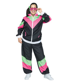 Fun World Costumes Women's Plus Size Rockin 80's Track Suit Costume