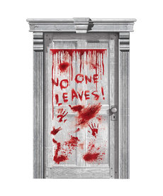 """Door Decoration: Asylum Dripping Blood """"No One Leaves!"""" (65""""x33"""")"""