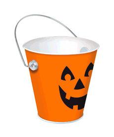 "Jack-O-Lantern Metal Bucket (4 1/2"" x 4 1/2"")"