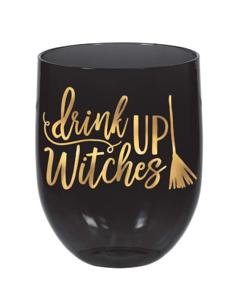 """15.2 oz. Wine Glass - """"Drink Up Witches"""""""