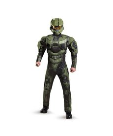 Disguise Costumes Men's Deluxe Halo: Master Chief Costume with Muscles
