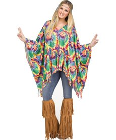 Fun World Costumes Women's Tie-Dye Hippie Poncho