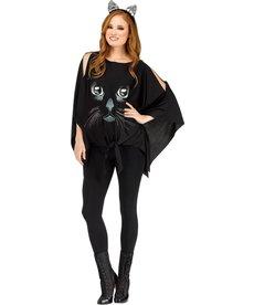 Fun World Costumes Women's Glitter Printed Black Cat Poncho