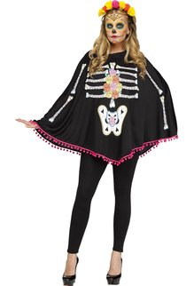 Fun World Costumes Day of the Dead Poncho