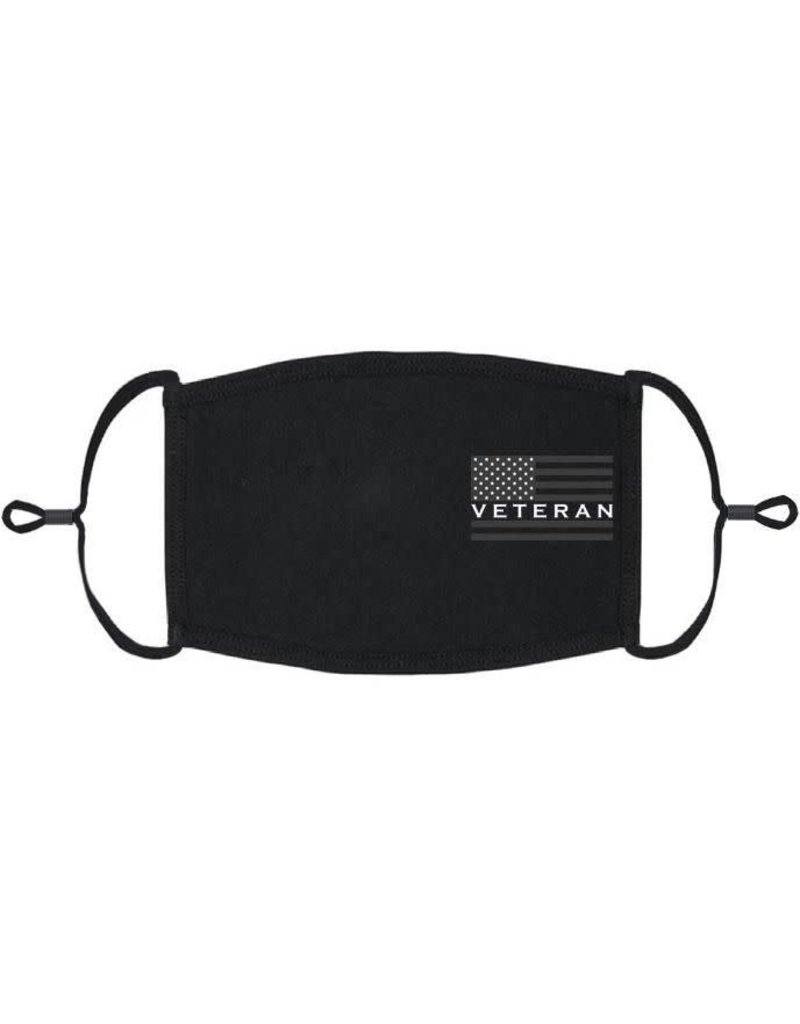 Adjustable Fabric Face Mask: Veteran w/ Black Flag