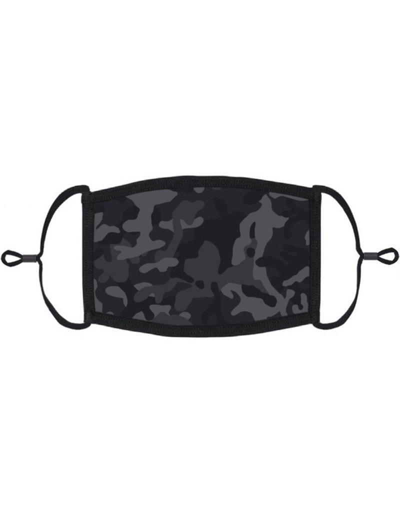 Adjustable Fabric Face Mask: Black Camouflage