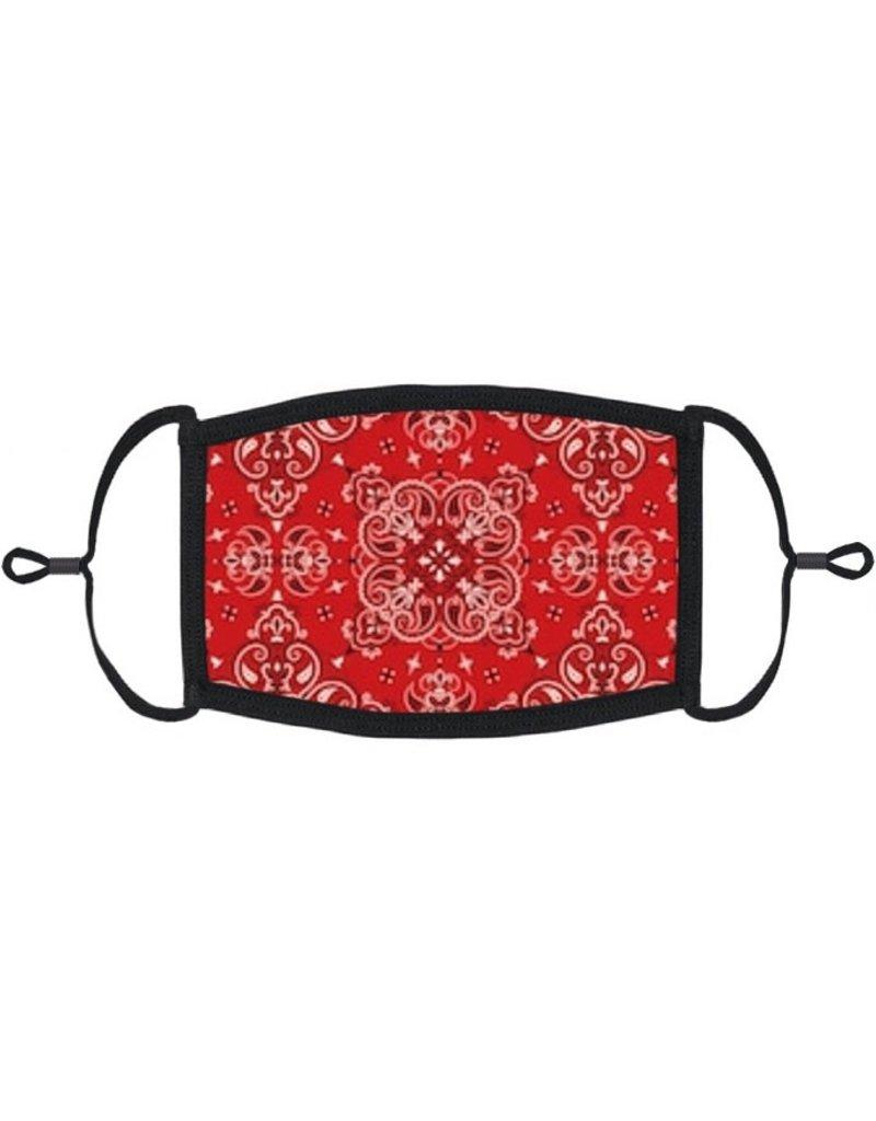 Adjustable Fabric Face Mask: Red Bandana