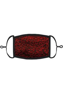 Adjustable Fabric Face Mask: Red Glitter Cheetah