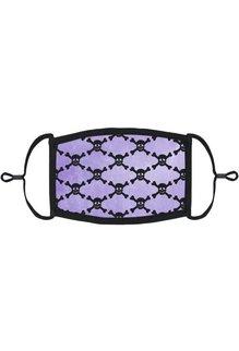 Adjustable Fabric Face Mask: Purple Skulls