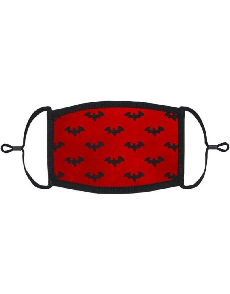 Adjustable Fabric Face Mask: Red Bats