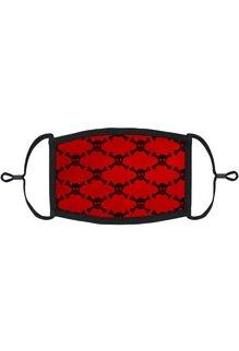 Adjustable Fabric Face Mask: Red Skulls