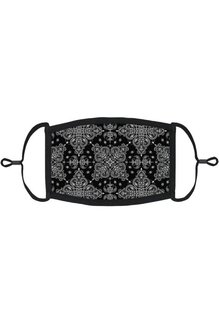 Adjustable Fabric Face Mask: Black Bandana