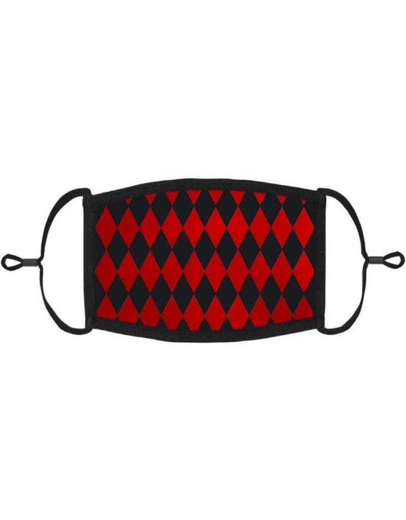 Adjustable Fabric Face Mask: Red Harlequin