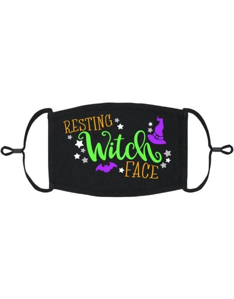 Adjustable Fabric Face Mask: Resting Witch Face (1 pk.)