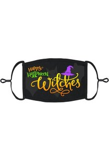 Adjustable Fabric Face Mask: Happy Halloween Witches (1pk.)