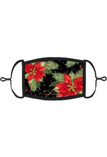 Adjustable Christmas Face Mask: Poinsettias