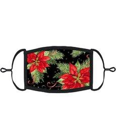 Adjustable Christmas Face Mask: Poinsettias