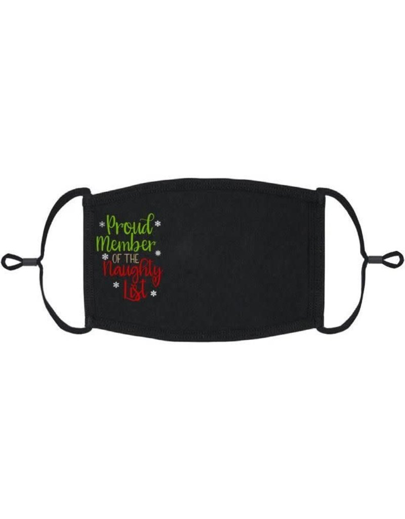 Adjustable Christmas Face Mask: Proud Member of the Naughty