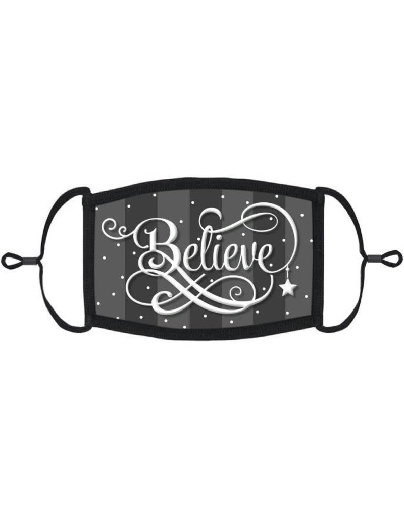 Adjustable Christmas Face Mask: Believe