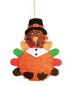 Tinsel Turkey Decor w/ Felt Feathers