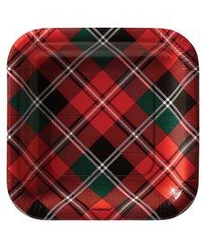 """7"""" Holiday Plaid Square Plates - (40ct.)"""