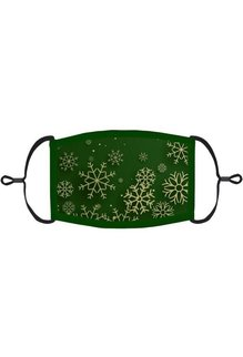 Adjustable Christmas Face Mask: Green Snowflakes