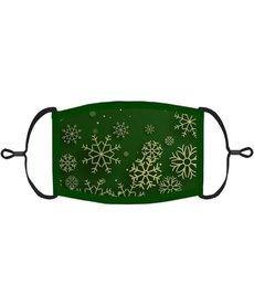 Adjustable Christmas Face Mask: Green Snowflakes