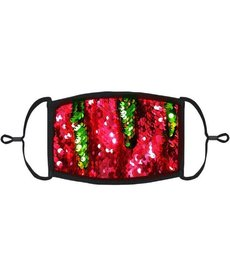 Adjustable Christmas Face Mask: Sequin Red/Green Flip (1pk.)