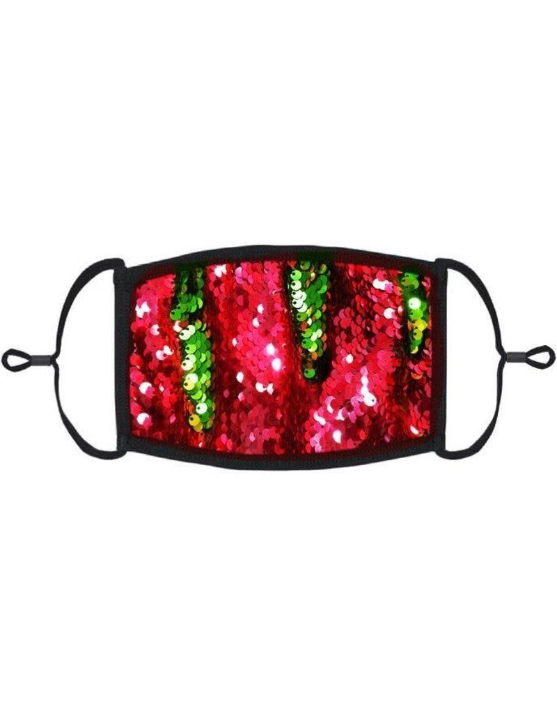 Adjustable Christmas Face Mask: Sequin Red/Green Flip (1pk.)