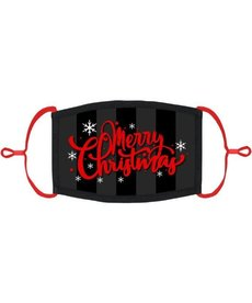 """Adjustable Fabric Face Mask: Red/Black """"Merry Christmas"""" (1pk.)"""