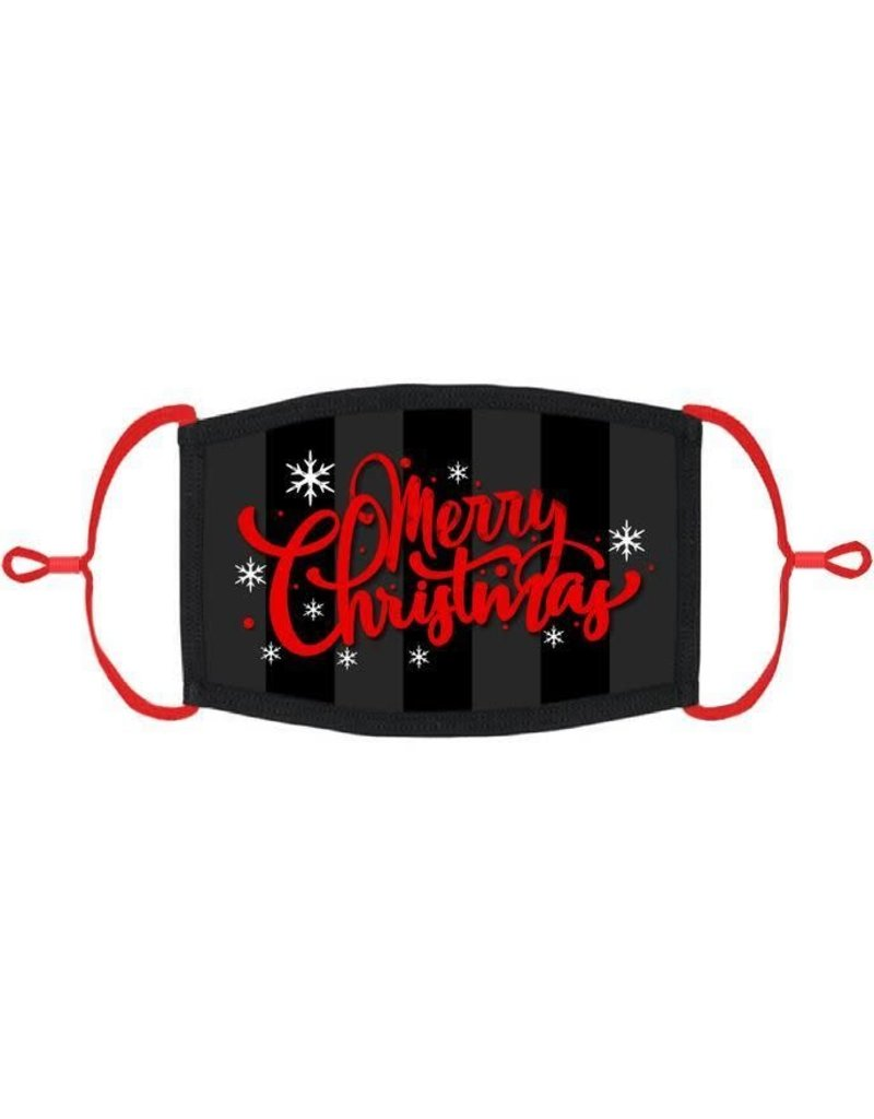 "Adjustable Fabric Face Mask: Red/Black ""Merry Christmas"" (1pk.)"