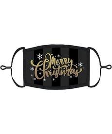 "Adjustable Fabric Face Mask: Gold/Black ""Merry Christmas"" (1pk.)"
