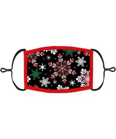 Adjustable Christmas Face Mask: Red & Green Snowflakes