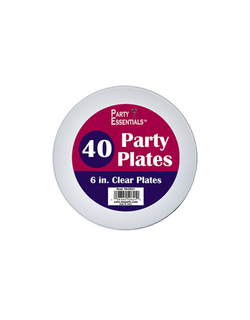 """6"""" Party Plates: Clear (40ct.)"""
