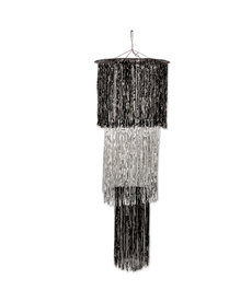 4' 3-Tier Shimmering Chandelier: Black/Silver