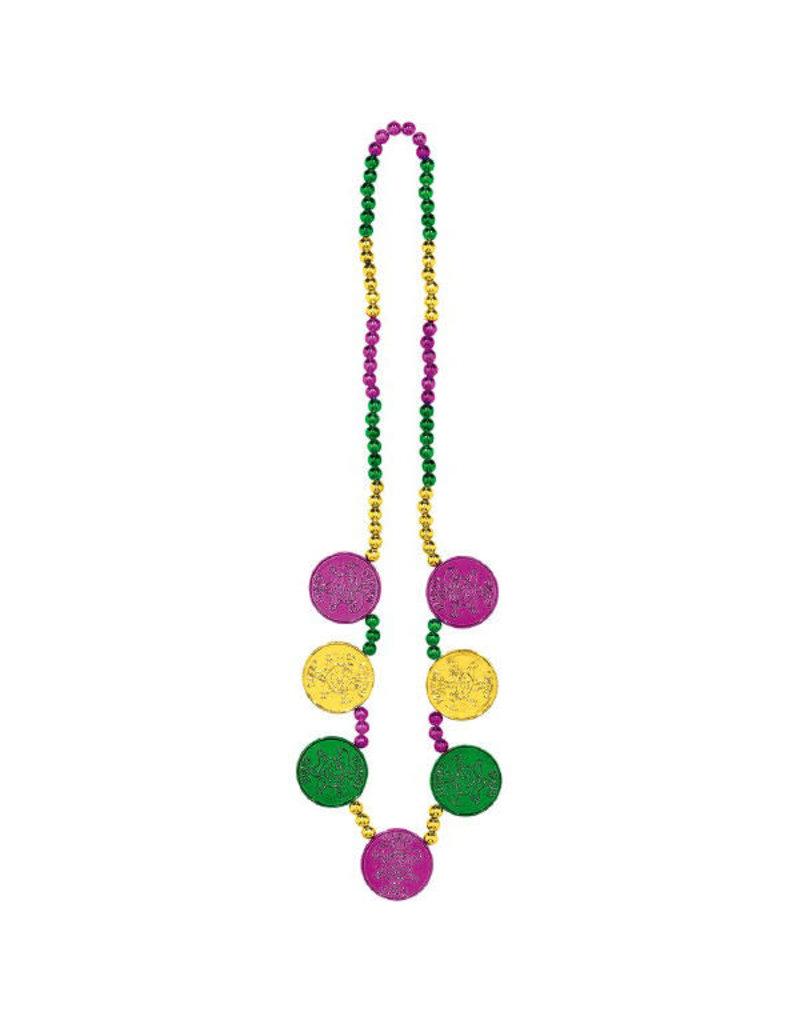 "Amscan 48"" Mardi Gras Coin Medallions Necklace"