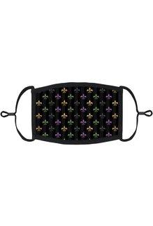 Adjustable Fabric Face Mask: Stripe Fleur De Lis
