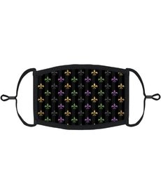 Adjustable Fabric Face Mask: Stripe Fleur De Lis