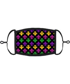 Adjustable Fabric Face Mask: Fleur De Lis Pattern