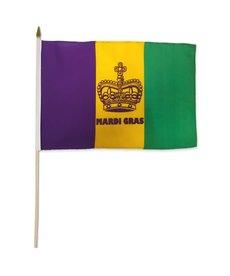 Mardi Gras Stick Flag (12x18in) - Crown