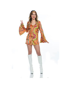 Women's Disco Diva Rainbow Lights Costume