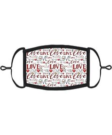 Adjustable Fabric Face Mask: Valentine Love White