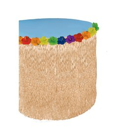 "Amscan Hibiscus Grass Plastic Table Skirt (29""x9')"
