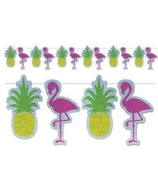 """Flamingo & Pineapple Streamer Banner (9""""x8')"""
