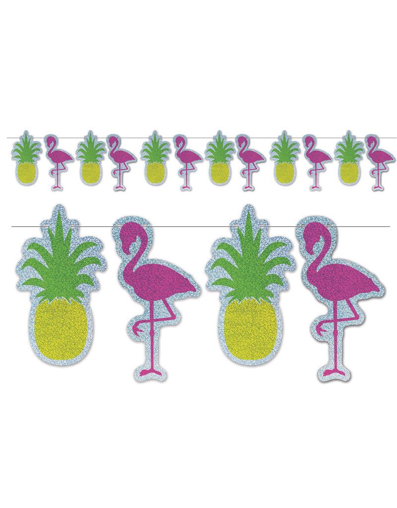 """Streamer Banner: Flamingo & Pineapple (9""""x8')"""