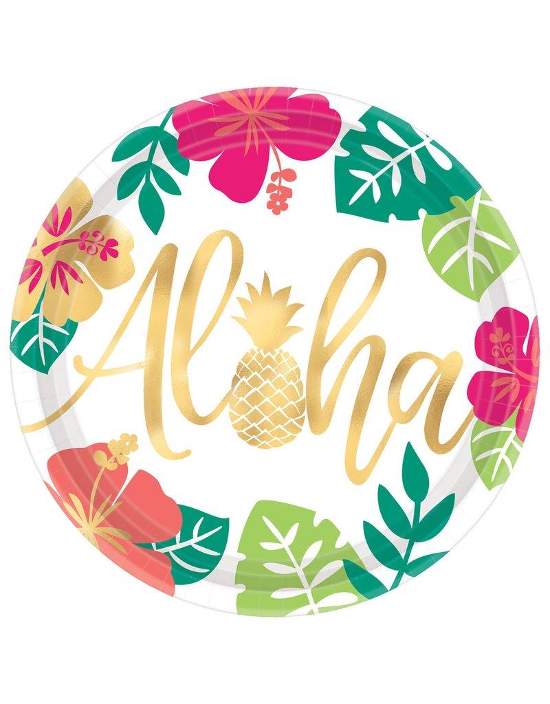 """10"""" Metallic Aloha Flamingo Round Plates (8pk.)"""