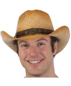 Western Raffia Cowboy Hat: Tan
