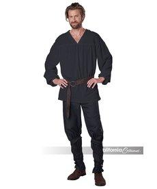 Men's Renaissance Peasant Shirt: Black
