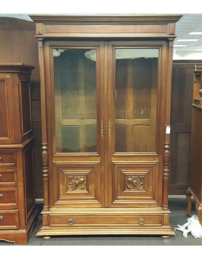 Bookcase Light Wood Glass Doors 1 Bottom Drawer Key