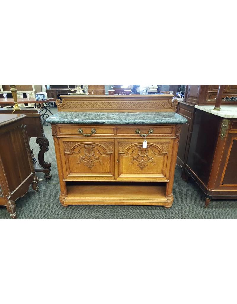 Sideboard Light Wood Green Marble Top 2 Cabinet 2 Drawers 2059 Antiques